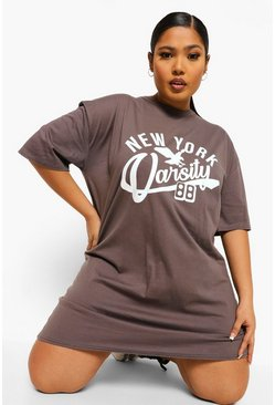 Charcoal grey Plus New York Oversized T-shirt Dress