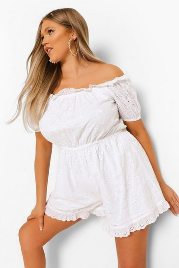 White Plus Off Shoulder Broderie Anglaise Playsuit