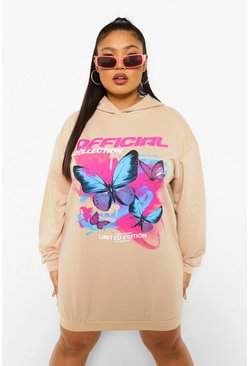 Stone beige Plus Butterfly Print Hooded Sweat Dress