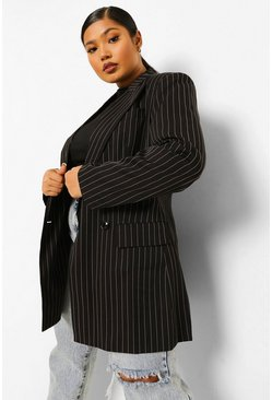 Black Plus Occasion Suit Pinstripe Blazer