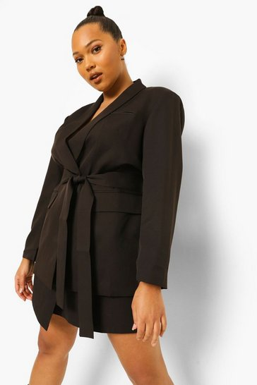 Black Plus Occasion Belted Blazer
