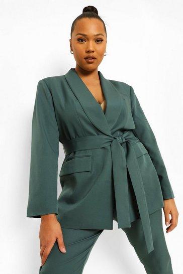 Green Plus Occasion Belted Blazer