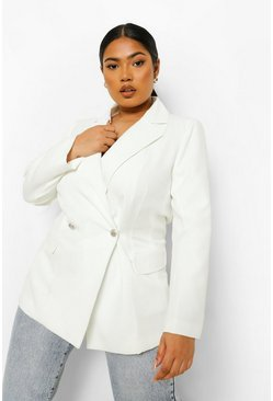 Ivory white Plus Occasion Tailored Blazer