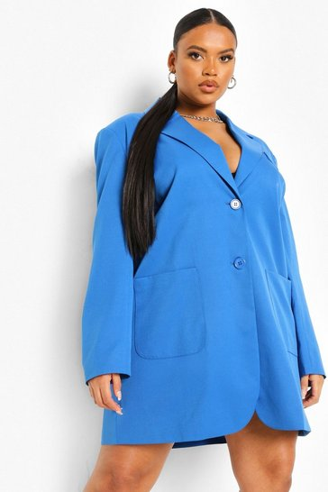 Blue Plus Oversized Blazer Dress