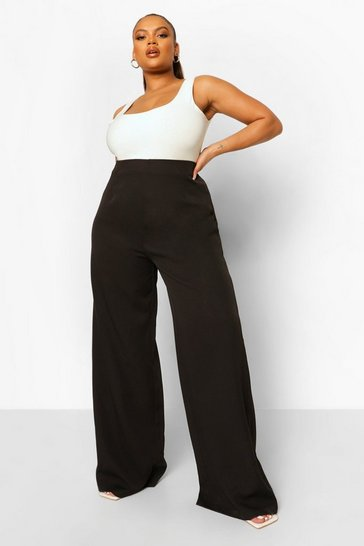 Black Plus Tailored Wide Leg Trouser