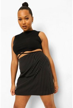 Black Plus Occasion Suit Pinstripe Skirt