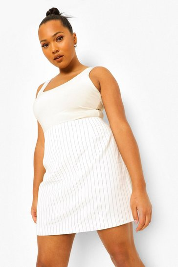 Ivory white Plus Occasion Suit Pinstripe Skirt