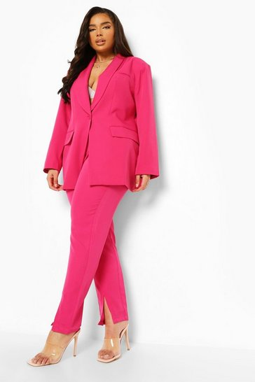 Pink Plus Occasion Split Hem Tailored Trouser