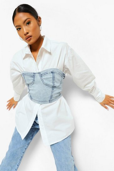 Bleach wash Petite Cupped Corset & Shirt 2 In 1