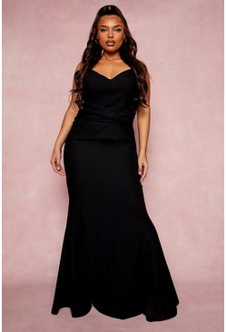 Black Plus Bridesmaid Twist Fishtail Maxi Dress