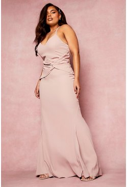 Dusty rose pink Plus Bridesmaid Twist Fishtail Maxi Dress