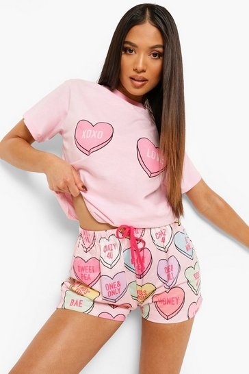 Pink Petite Love Heart Slogan Pj Short Set