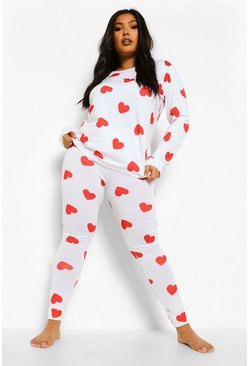 White Plus All Over Heart Print Lounge Set
