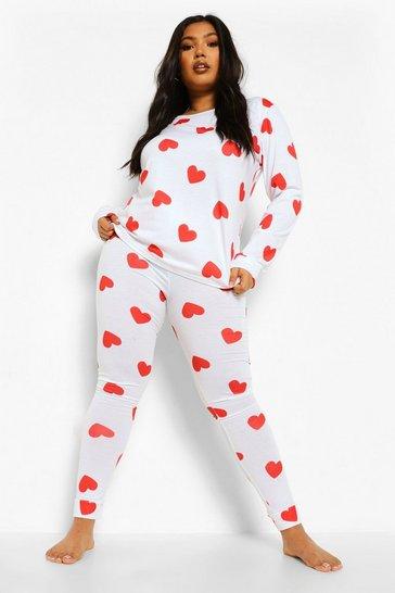 White Plus All Over Heart Print Loungewear Set