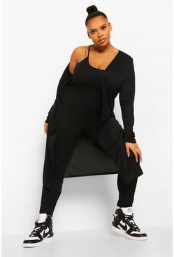 Black Plus Zachte Geribbelde Jumpsuit En Cardigan Set