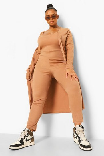 Camel beige Plus Soft Rib Jumpsuit And Cardigan Co-ord