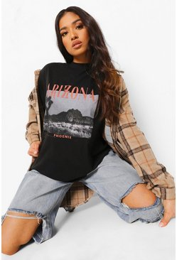 Black Petite Arizona Photo Print Oversized T-shirt