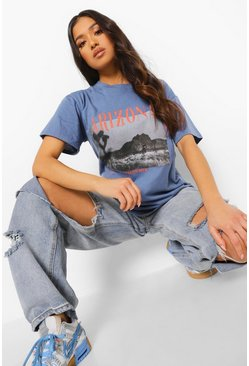 Indigo blue Petite Arizona Photo Print Oversized T-shirt