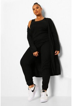Black Plus Rib Jogger And Cardigan 3 Piece Co-ord