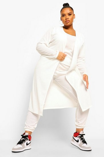 Ecru white Plus Rib Jogger And Cardigan 3 Piece Co-ord