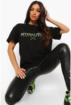 Black Petite Beverly Hills Printed T-shirt
