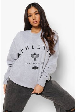 Grey Marl Petite Tennis Athletic Print Sweatshirt