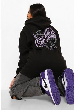 "Black svart Petite - ""Make Waves"" Hoodie med tryck"