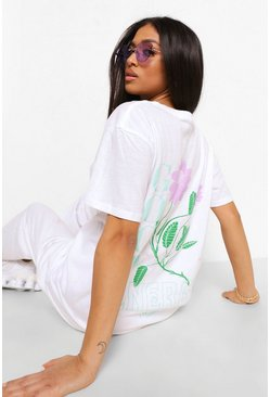 White Petite Flower Back Print Oversized T-shirt