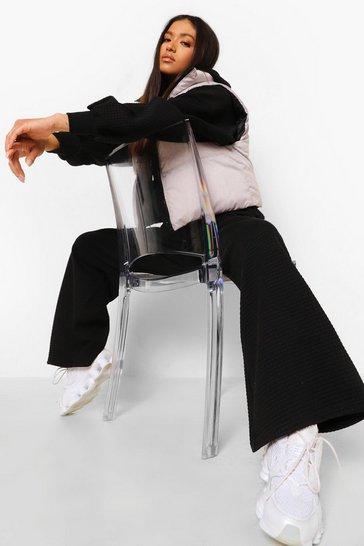 Black Petite Waffle Texture Wide Leg Joggers