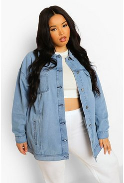 Mid blue blue Plus Oversized Longline Denim Jacket