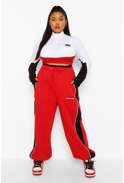 Red Plus Colour Block Oversized Jogger