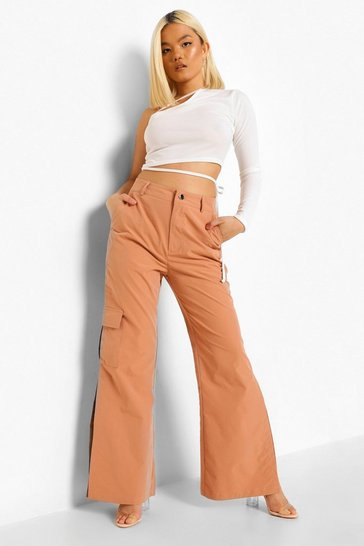 Tan brown Petite Cargo Split Hem Flare Trouser