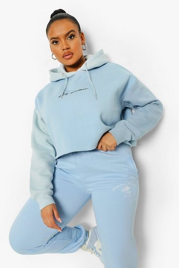 Blue Plus Colour Block Cropped Hoodie
