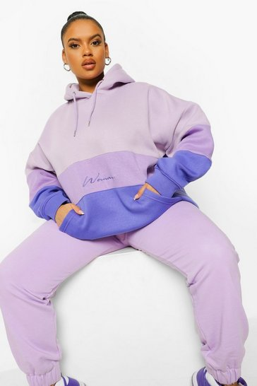 Lilac purple Plus Colour Block Oversized Woman Hoodie