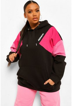 Hot pink pink Plus Colour Block Woman Hoodie