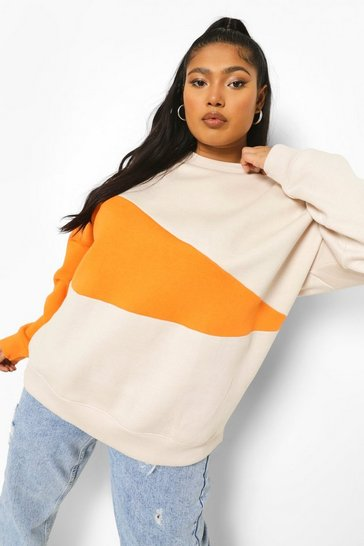Stone beige Plus Colour Block Oversized Sweat