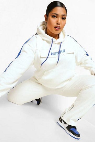 Ecru white Plus Colour Block Woman Tracksuit