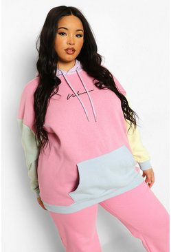 Multi Plus Pastel Colour Block Woman Hoodie