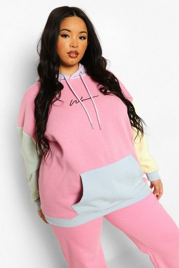 Multi Plus Pastel Colour Block Woman Hoodie