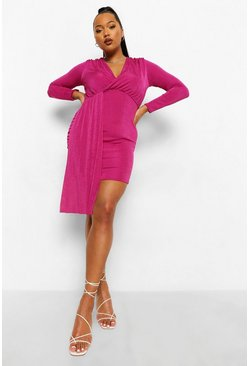 Fushia pink Plus Textured Slinky Plunge Ruched Mini Dress