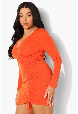 Plus Textured Slinky Ruched Wrap Dress, Orange