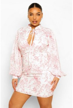 Plus Porcelain Extreme Sleeve Shift Dress, Pink rose