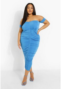 Blue Plus Slinky Off Shoulder Midaxi Dress
