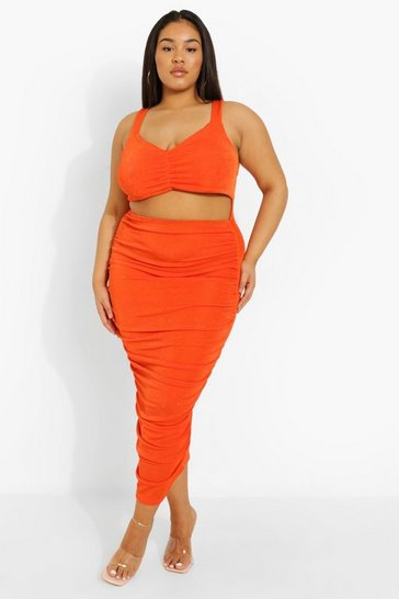 Orange Plus Ruched Cut Out Midaxi Dress