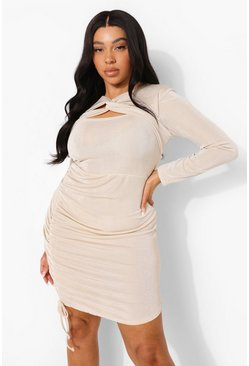Light stone Plus Textured Slinky Cut Out Bodycon Dress