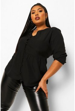 Black Plus Button Front Puff Sleeve Smock Top