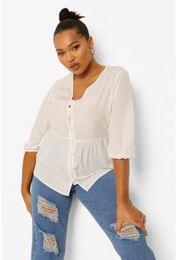 White Plus Button Front Puff Sleeve Smock Top