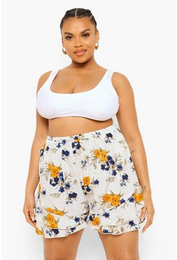 White Plus Spot Floral Flippy Shorts