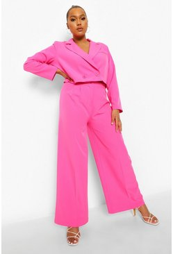 Hot pink pink Plus Wide Leg Tailored Trouser