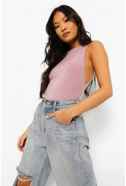 Mauve Petite Double Layer Low Side Bodysuit